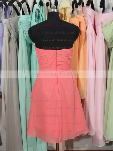 Sweetheart Knee-length Watermelon Chiffon Ruffles Gorgeous Bridesmaid Dress #DOB01012179