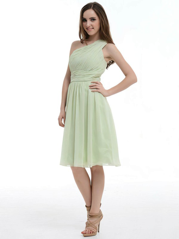 Nicest Sage Ruffles Chiffon Knee-length One Shoulder Bridesmaid Dresses #DOB01012181