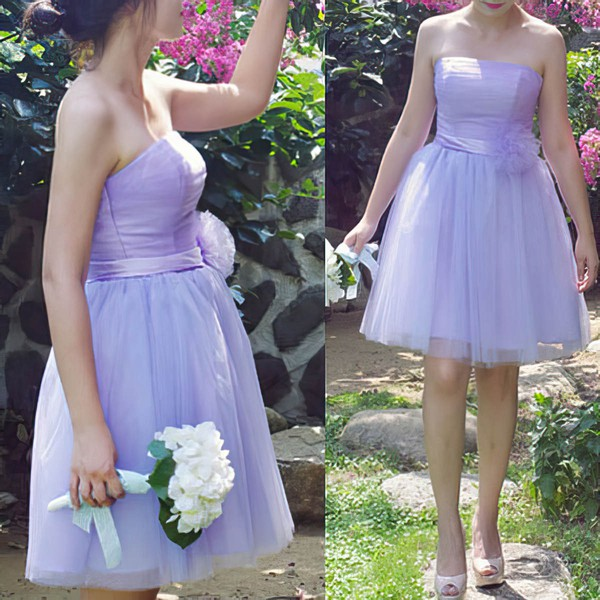 Lilac Tulle with Sashes/Ribbons Strapless Lace-up Short/Mini Bridesmaid Dresses #DOB01012185