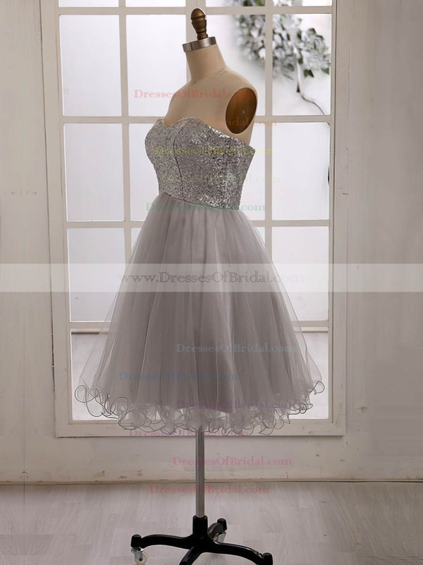 Online Silver Sequined Tulle Sweetheart Knee-length Bridesmaid Dress #DOB01012186
