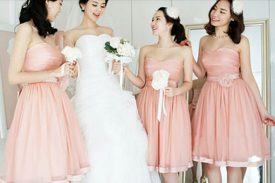 Sweetheart Pearl Pink Tulle Sashes/Ribbons Best Ball Gown Bridesmaid Dresses #DOB01012204