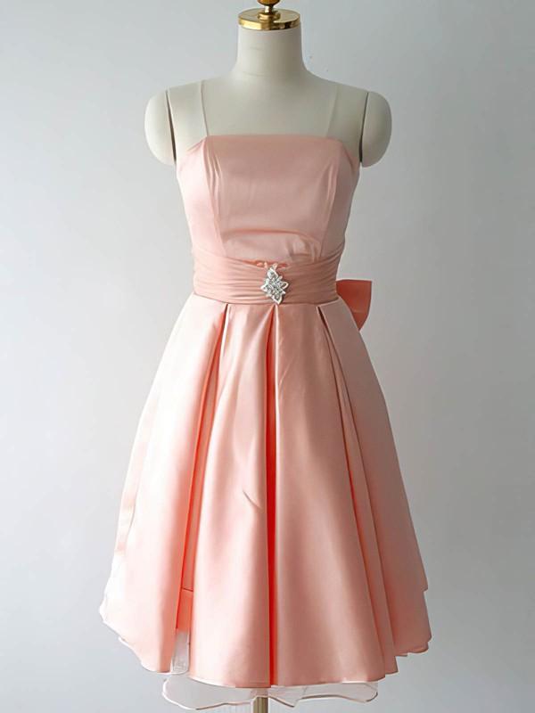 Elegant Knee-length Pink Satin with Bow Strapless Bridesmaid Dresses #DOB01012217