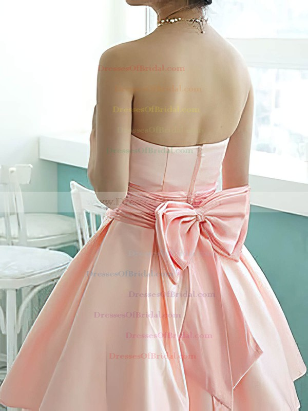 Elegant Knee-length Pink Satin with Bow Strapless Bridesmaid Dresses #DOB01012217