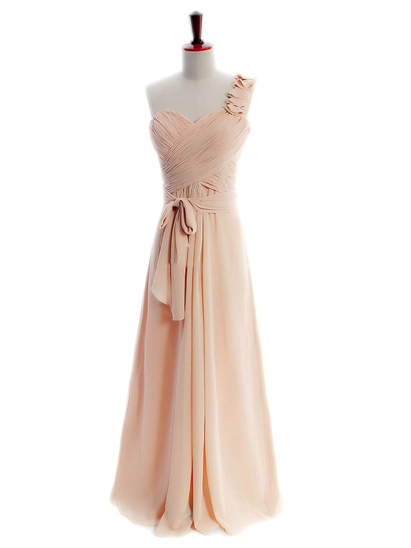Top Chiffon with Pleats Floor-length One Shoulder Bridesmaid Dresses #DOB01012597