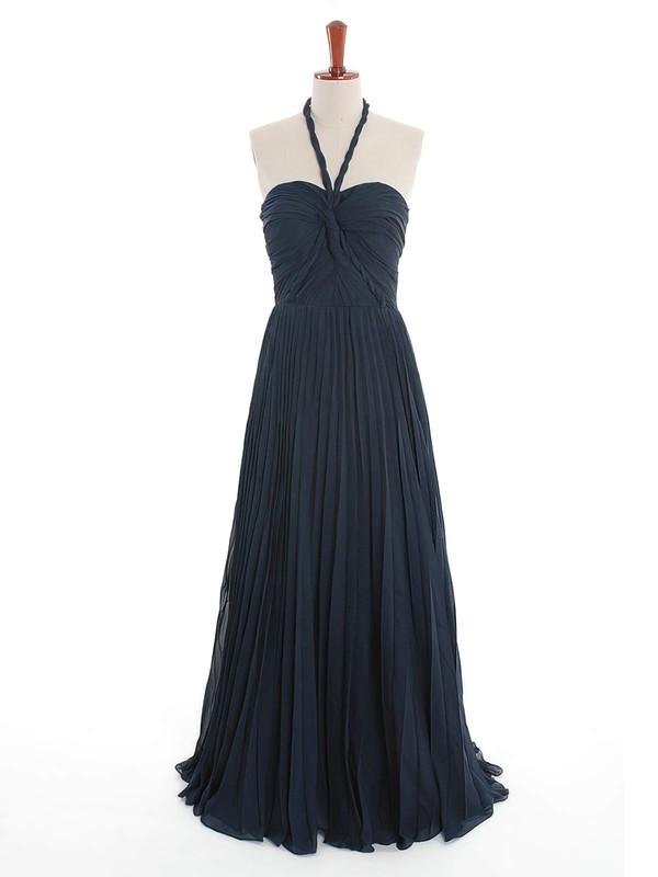 Nice Backless A-line Dark Navy Chiffon Criss Cross Halter Bridesmaid Dress #DOB01012600