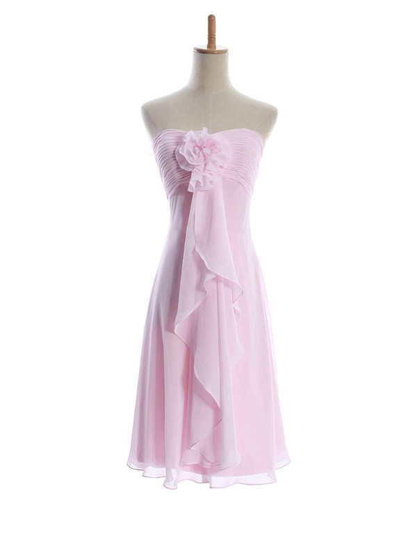 Sweetheart Sheath/Column Knee-length Chiffon Flower(s) Bridesmaid Dresses #DOB01012601