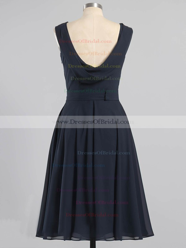 Dark Navy Chiffon with Sashes/Ribbons Tea-length Open Back Bridesmaid Dresses #DOB01012604