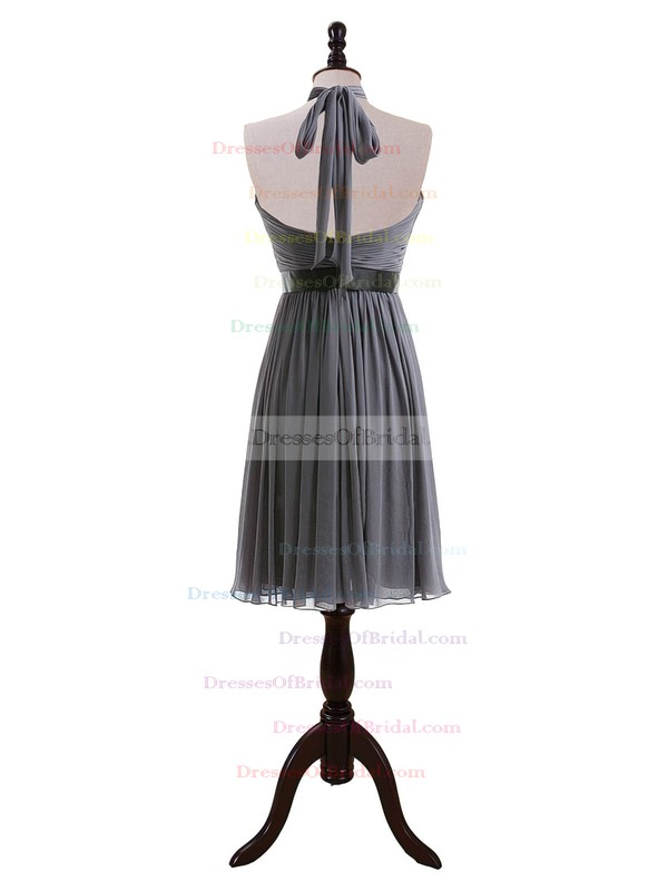 Halter Backless Gray Chiffon Sashes/Ribbons Knee-length Bridesmaid Dresses #DOB01012608