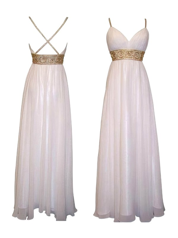 Exclusive Ivory Chiffon with Beading Empire Open Back Bridesmaid Dresses #DOB01012615