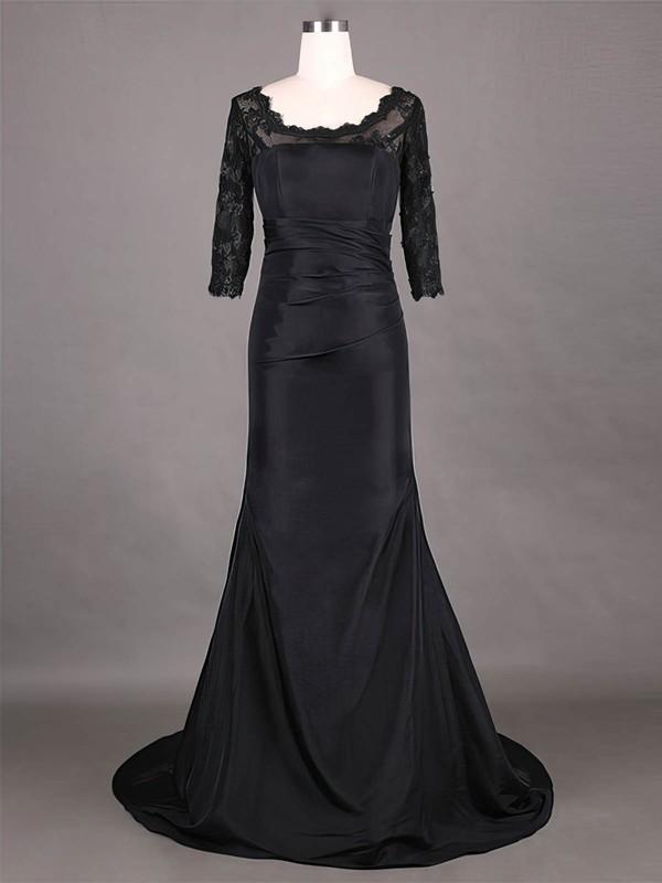Modest Scoop Neck Taffeta Lace 1/2 Sleeve Sheath/Column Black Mother of the Bride Dress #DOB01021315