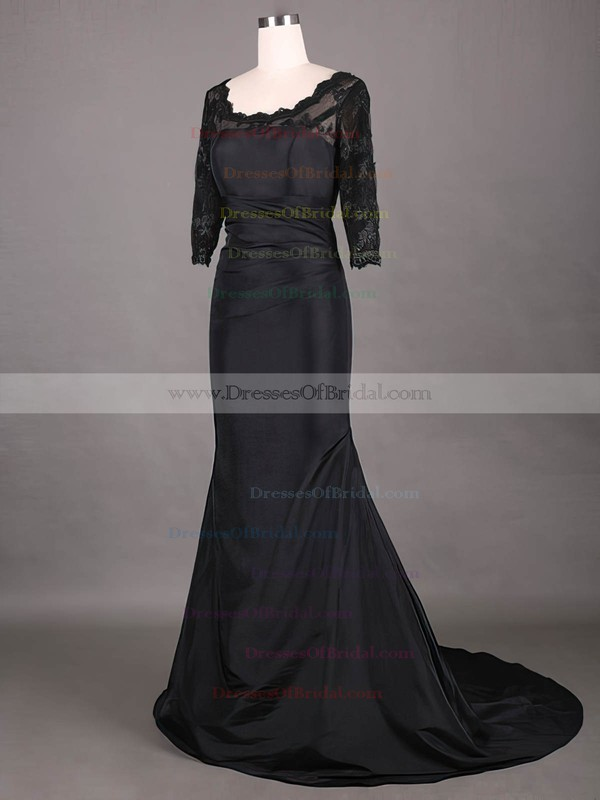 Modest Scoop Neck Taffeta Lace 1/2 Sleeve Sheath/Column Black Mother of the Bride Dress #DOB01021315