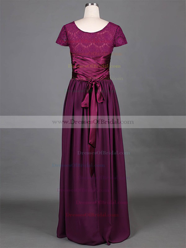 Short Sleeve Grape Lace Chiffon Ruffles Scoop Neck Vintage Mother of the Bride Dress #DOB01021316
