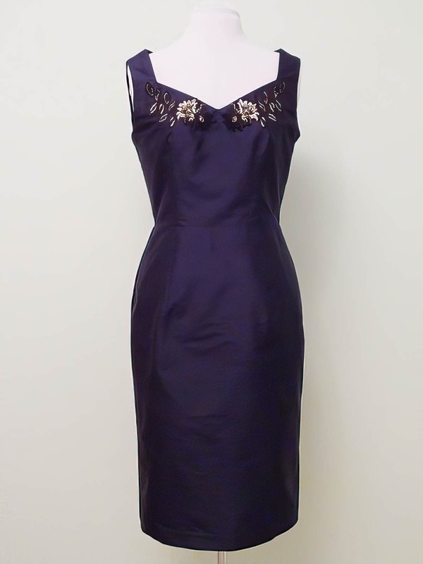 Original Knee-length Grape Satin with Beading V-neck Mother of the Bride Dress #DOB01021323
