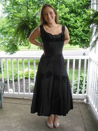 Perfect Tea-length Black Satin with Flower(s) Scoop Neck Mother of the Bride Dress #DOB01021324