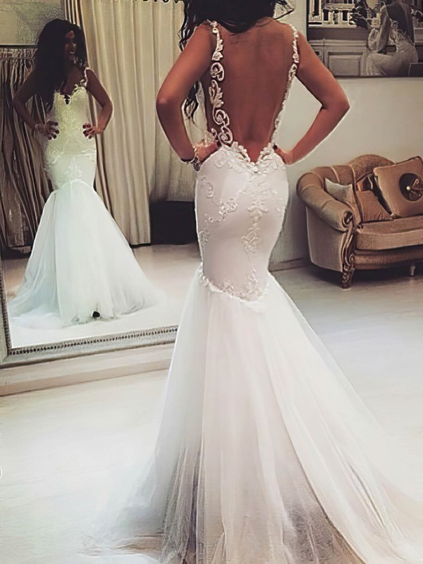 Sweetheart Trumpet/Mermaid Sweep Train Tulle Appliques Lace Wedding Dresses #DOB00021421