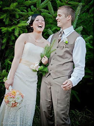 Strapless Trumpet/Mermaid Court Train Lace Sashes/Ribbons Wedding Dresses #DOB00021424