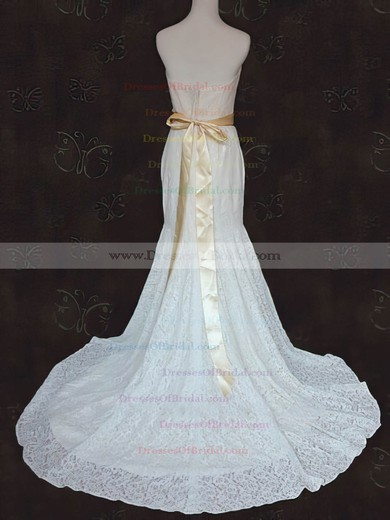 Strapless Trumpet/Mermaid Court Train Lace Sashes/Ribbons Wedding Dresses #DOB00021424