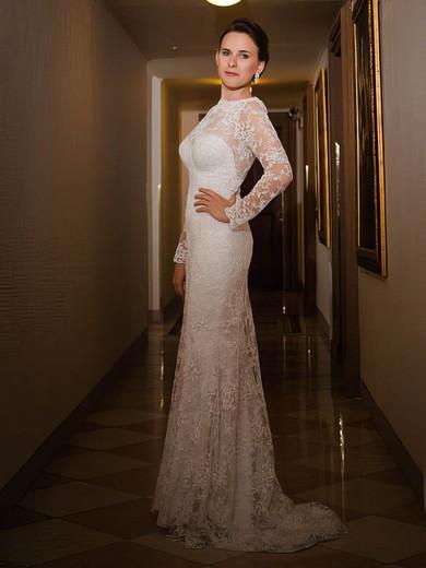Scoop Neck Sheath/Column Sweep Train Lace Ruffles Wedding Dresses #DOB00021429