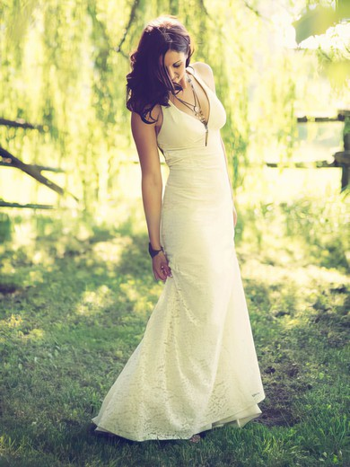 V-neck Sheath/Column Sweep Train Lace  Wedding Dresses #DOB00021430