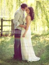V-neck Sheath/Column Sweep Train Lace  Wedding Dresses #DOB00021430