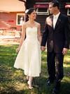 Sweetheart A-line Tea-length Taffeta Bow Wedding Dresses #DOB00021432
