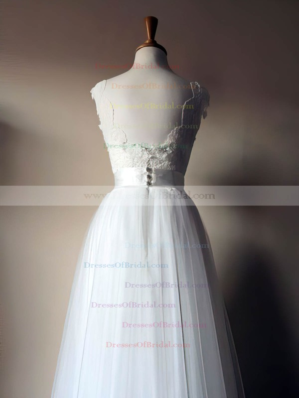 Scoop Neck A-line Floor-length Lace Tulle Sashes/Ribbons Wedding Dresses #DOB00021435