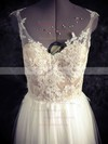 Sweetheart A-line Floor-length Tulle Appliques Lace Wedding Dresses #DOB00021436