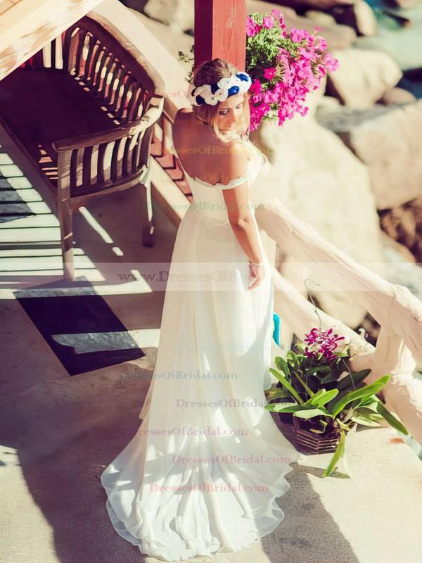 Off-the-shoulder A-line Court Train Chiffon Lace Wedding Dresses #DOB00021438