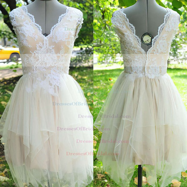 V-neck A-line Asymmetrical Tulle Silk-like Satin Appliques Lace Wedding Dresses #DOB00021442