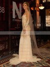 Scoop Neck Trumpet/Mermaid Court Train Chiffon Tulle Elastic Woven Satin Ruffles Wedding Dresses #DOB00021443