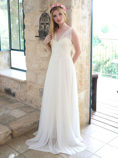 V-neck A-line Floor-length Chiffon Lace Wedding Dresses #DOB00021446