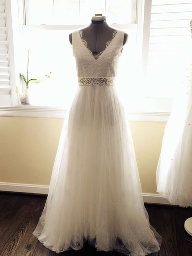 V-neck A-line Court Train Lace Tulle Sashes/Ribbons Wedding Dresses #DOB00021448