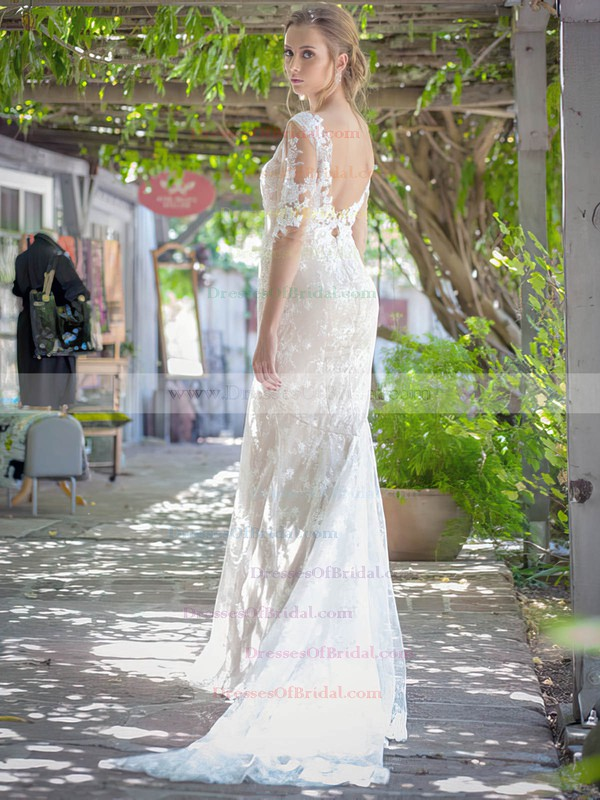 V-neck Trumpet/Mermaid Sweep Train Lace Appliques Lace Wedding Dresses #DOB00021451