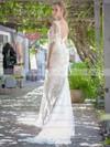 V-neck Trumpet/Mermaid Sweep Train Lace Appliques Lace Wedding Dresses #DOB00021451