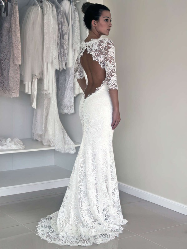 Scoop Neck Trumpet/Mermaid Sweep Train Lace Ruffles Wedding Dresses #DOB00021456