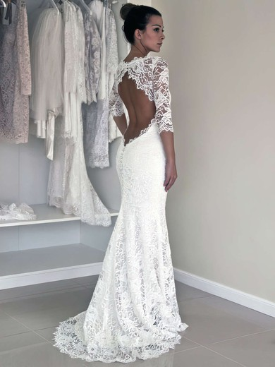 Scoop Neck Trumpet/Mermaid Sweep Train Lace Ruffles Wedding Dresses #DOB00021456