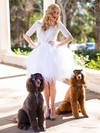 Scoop Neck Ball Gown Short/Mini Lace Tulle Ruffles Wedding Dresses #DOB00021457