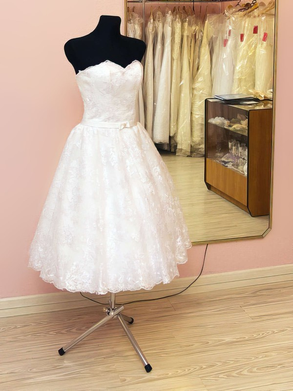 Sweetheart A-line Tea-length Lace Elastic Woven Satin Bow Wedding Dresses #DOB00021459