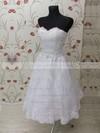 Sweetheart A-line Tea-length Lace Elastic Woven Satin Bow Wedding Dresses #DOB00021459