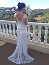 V-neck Trumpet/Mermaid Watteau Train Lace Elastic Woven Satin Appliques Lace Wedding Dresses #DOB00021460
