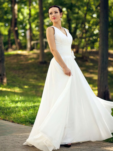 V-neck A-line Floor-length Chiffon Ruffles Wedding Dresses #DOB00021463