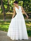 V-neck A-line Floor-length Chiffon Ruffles Wedding Dresses #DOB00021463