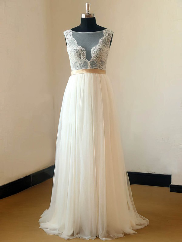 Scoop Neck A-line Sweep Train Chiffon Tulle Appliques Lace Wedding Dresses #DOB00021467