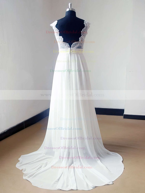 V-neck A-line Sweep Train Lace Chiffon Elastic Woven Satin Appliques Lace Wedding Dresses #DOB00021468