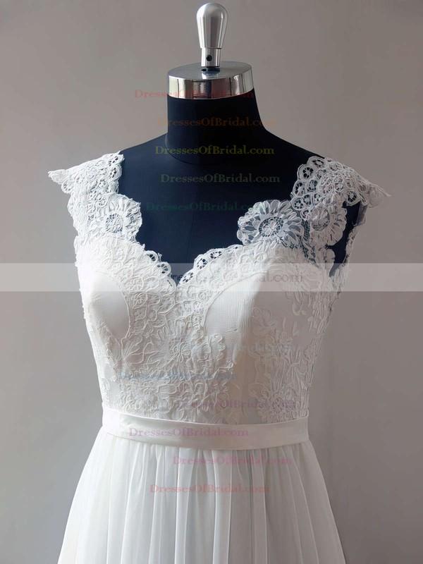 V-neck A-line Sweep Train Lace Chiffon Elastic Woven Satin Appliques Lace Wedding Dresses #DOB00021468