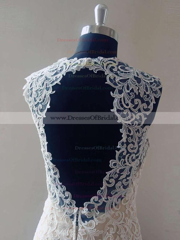 V-neck Trumpet/Mermaid Sweep Train Lace Tulle Elastic Woven Satin Appliques Lace Wedding Dresses #DOB00021469
