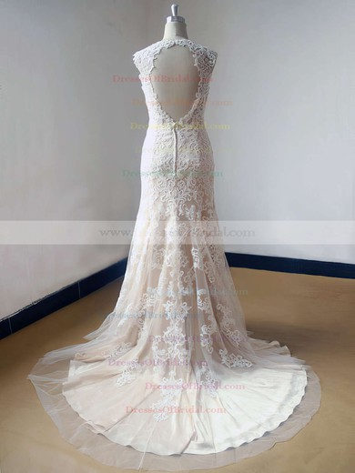 V-neck Trumpet/Mermaid Sweep Train Lace Tulle Elastic Woven Satin Appliques Lace Wedding Dresses #DOB00021469