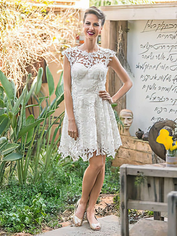 Scoop Neck A-line Knee-length Lace Ruffles Wedding Dresses #DOB00021472