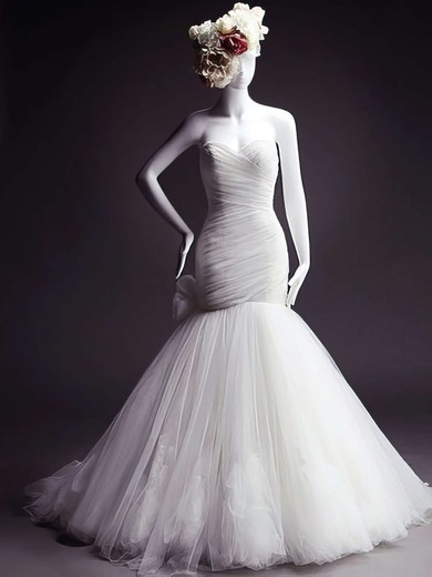 Sweetheart Trumpet/Mermaid Court Train Tulle Bow Wedding Dresses #DOB00021473