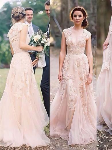 V-neck A-line Sweep Train Tulle Appliques Lace Wedding Dresses #DOB00021475
